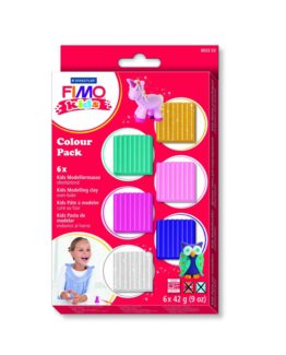 FIMO kids set with 6 assorted glitter colours