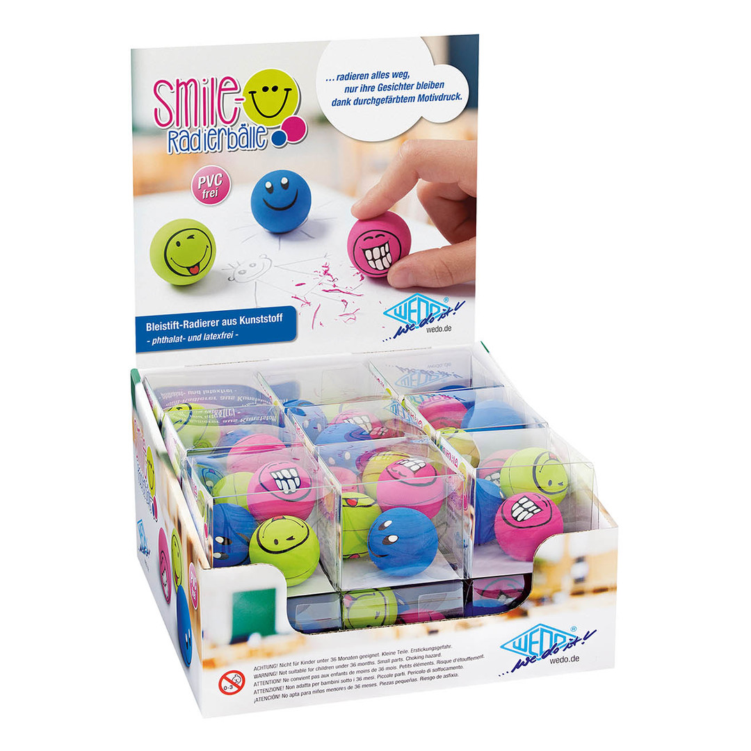 Eraser smiley balls 3/set